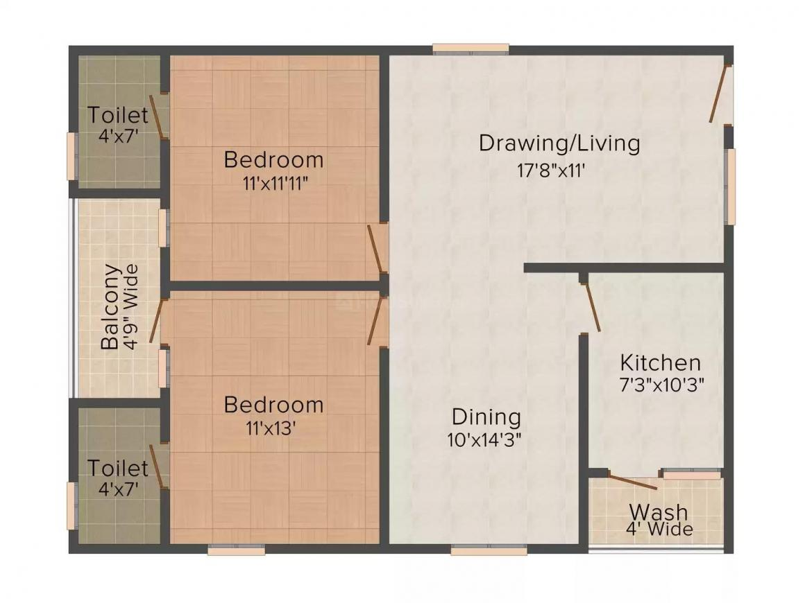 Rineesh Signature Floor Plan: 2 BHK Unit with Built up area of 1160 sq.ft 1