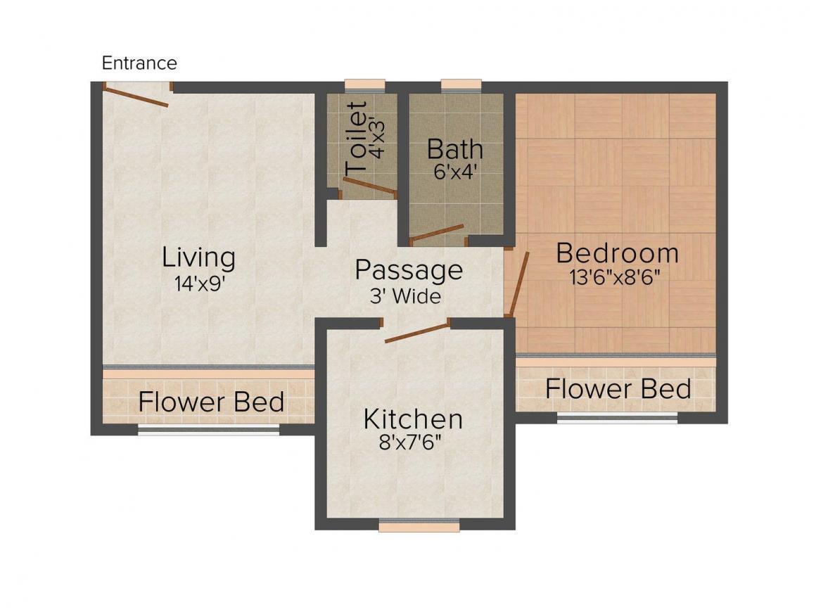 Floor Plan Image of 515 - 800 Sq.ft 1 BHK Apartment for buy in Sai Balaji Janki Park