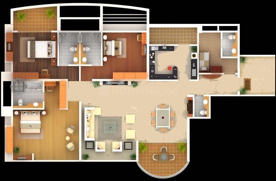Amar Renaissance Floor Plan: 3 BHK Unit with Built up area of 2828 sq.ft 1
