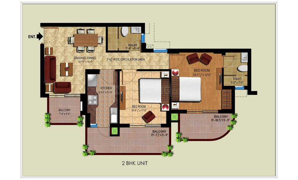 Royal Heritage Floor Plan: 2 BHK Unit with Built up area of 888 sq.ft 1