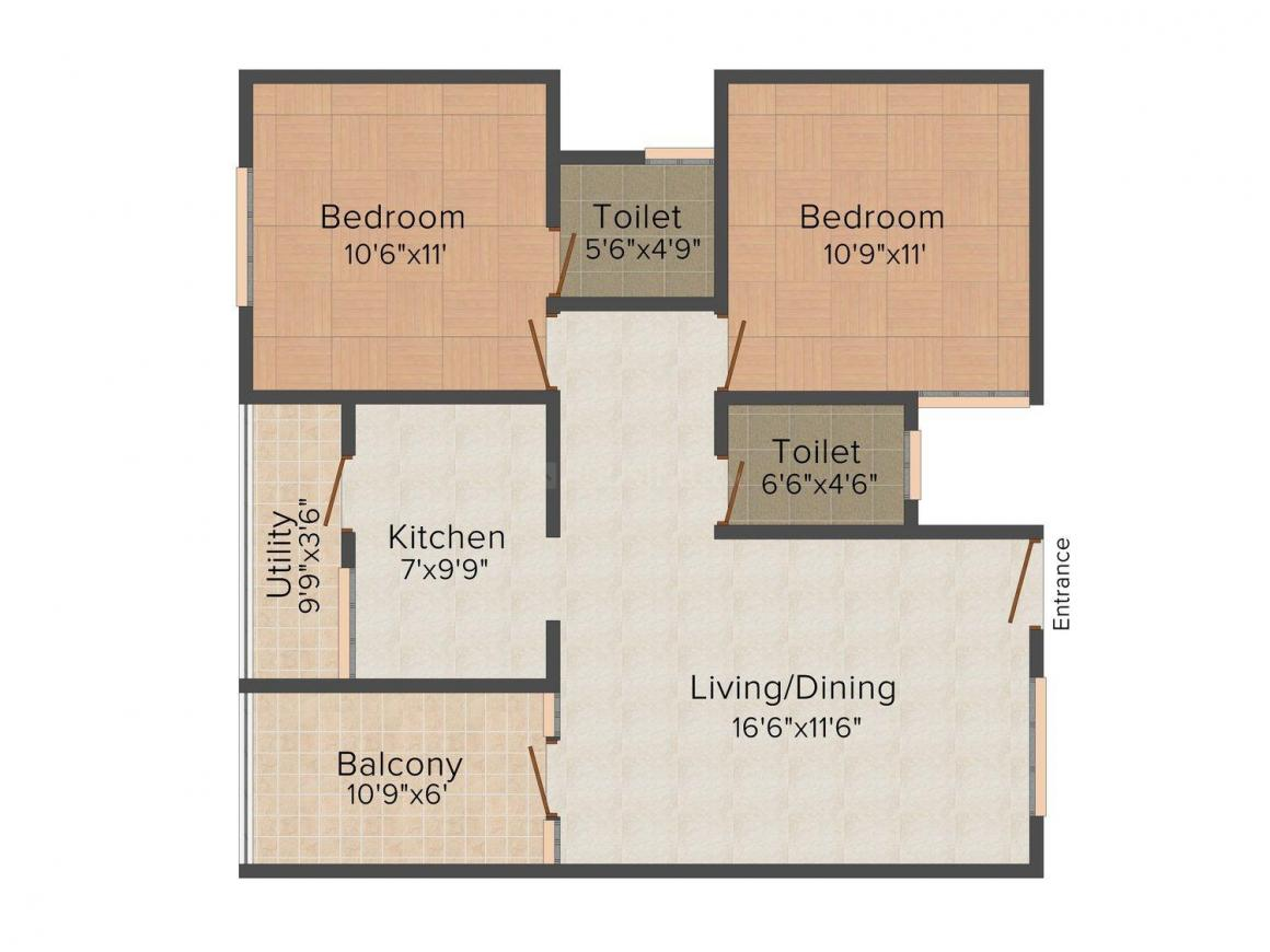 Goldmine Complex Floor Plan: 2 BHK Unit with Built up area of 1000 sq.ft 1