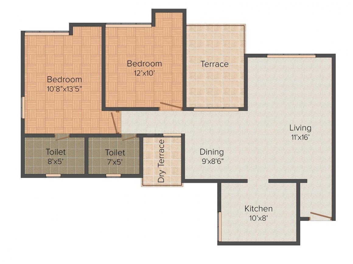 Parkview Floor Plan: 2 BHK Unit with Built up area of 1153 sq.ft 1