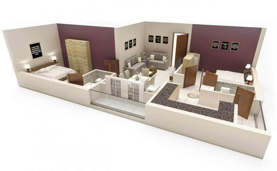 Traventure Samiha Floor Plan: 2 BHK Unit with Built up area of 903 sq.ft 1