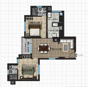 Crescent Aster Floor Plan: 2 BHK Unit with Built up area of 1062 sq.ft 1