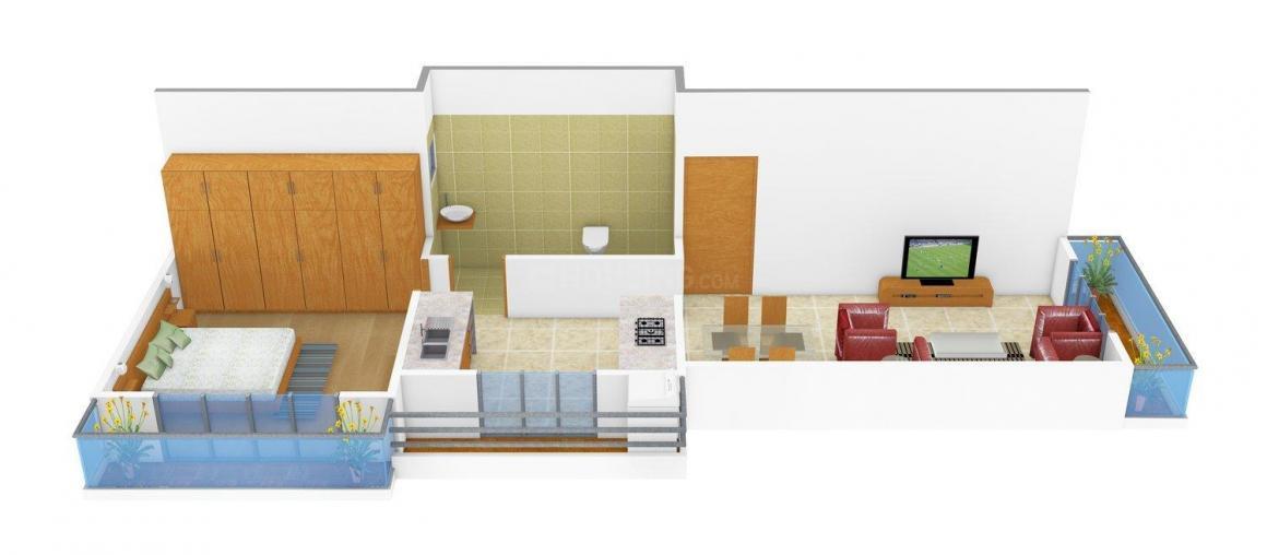 Floor Plan Image of 595 - 630 Sq.ft 1 BHK Apartment for buy in Bishen Krishna Kunj