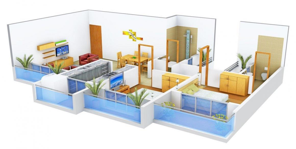 Floor Plan Image of 0 - 1210.0 Sq.ft 2 BHK Apartment for buy in Regency Icon