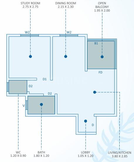 Satyam Serenity B Floor Plan: 1 BHK Unit with Built up area of 328 sq.ft 1