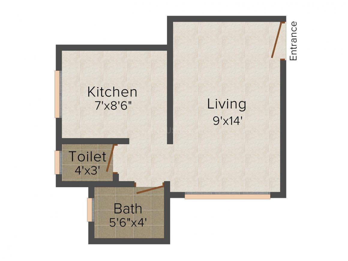 Floor Plan Image of 345.0 - 550.0 Sq.ft 1 RK Apartment for buy in Pyramid Saraswati Sadan