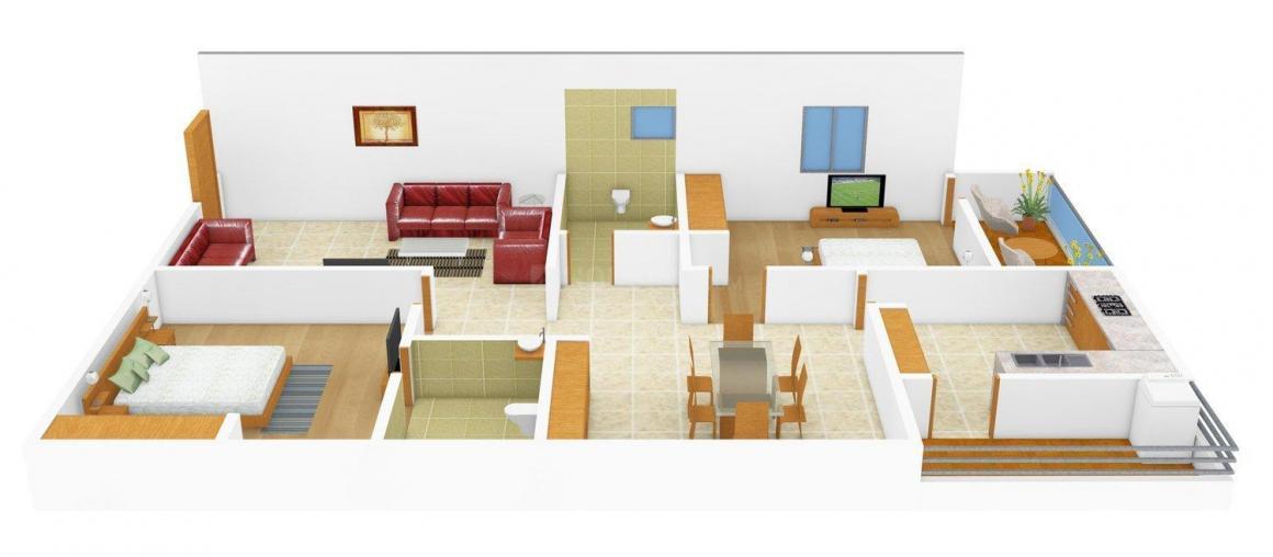 Prabhu Shanti Hi - Tech Homes Floor Plan: 2 BHK Unit with Built up area of 1320 sq.ft 1
