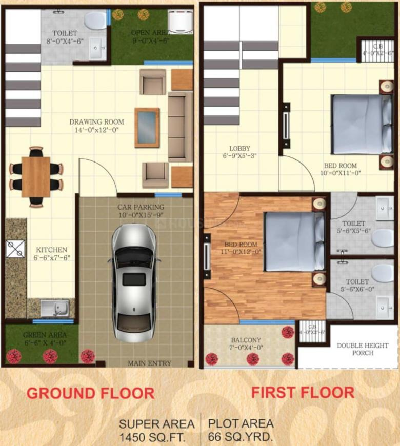 IBP Windsor Valley Floor Plan: 2 BHK Unit with Built up area of 1450 sq.ft 1