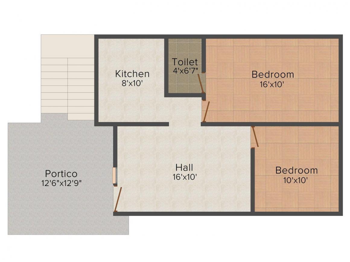 Floor Plan Image of 880.0 - 907.0 Sq.ft 2 BHK Villa for buy in Manchester Teacher's Colony Extn.