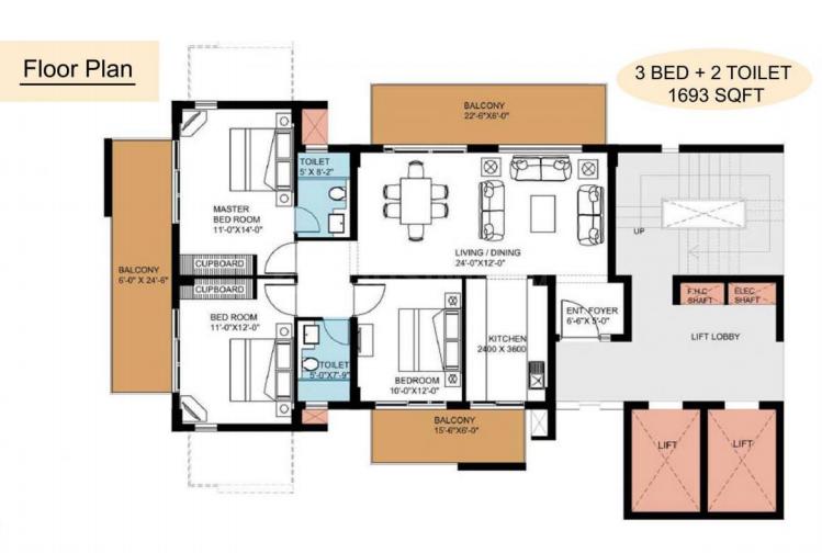 Puri Pranayam Floor Plan: 3 BHK Unit with Built up area of 1693 sq.ft 1