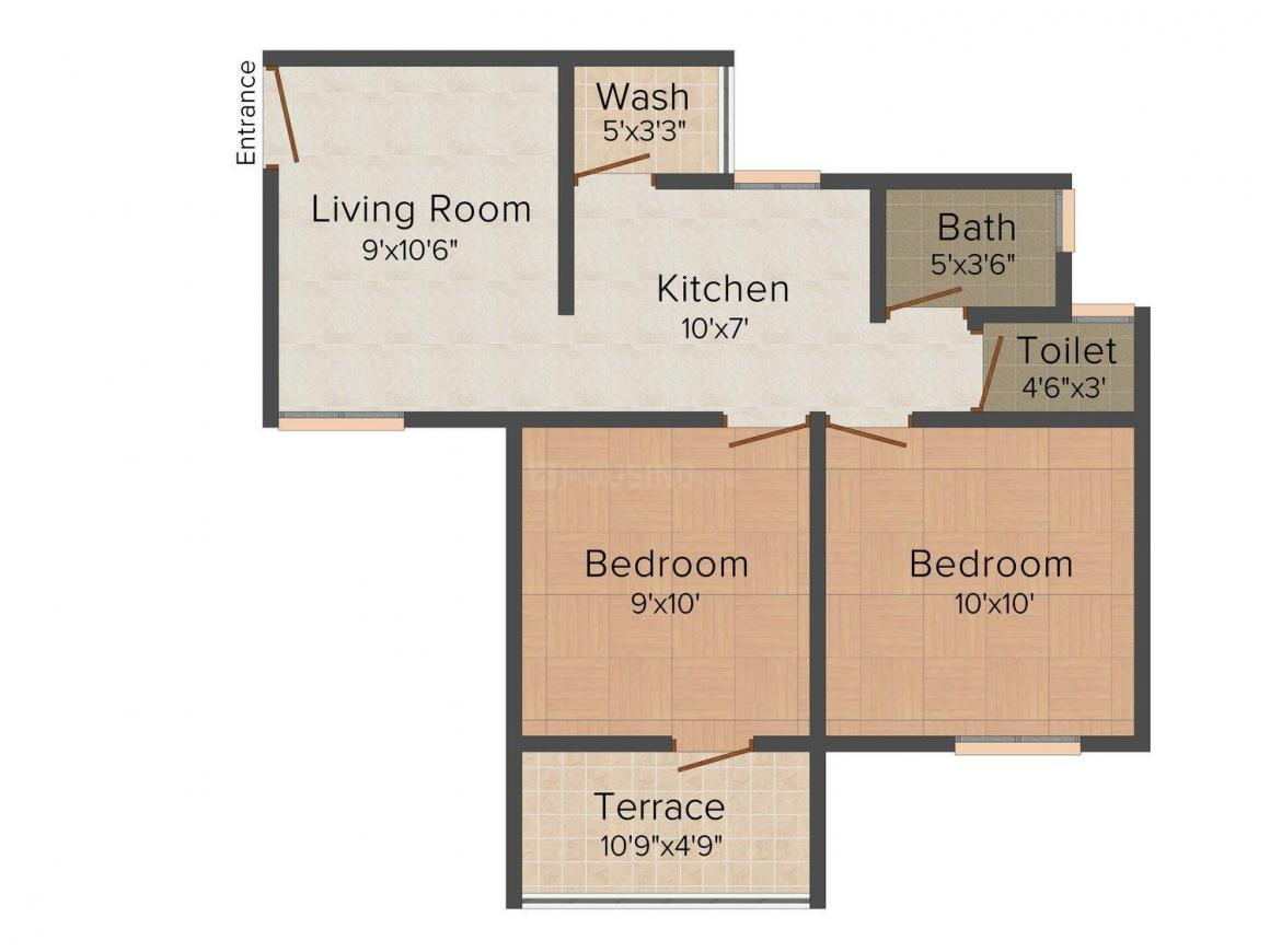 Floor Plan Image of 667.0 - 855.0 Sq.ft 2 BHK Apartment for buy in Green Emerald - A