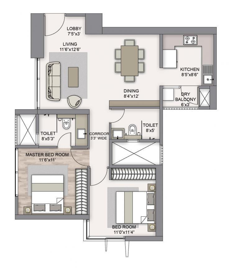 Piramal Mahalaxmi North Tower 3 Floor Plan: 2 BHK Unit with Built up area of 744 sq.ft 1
