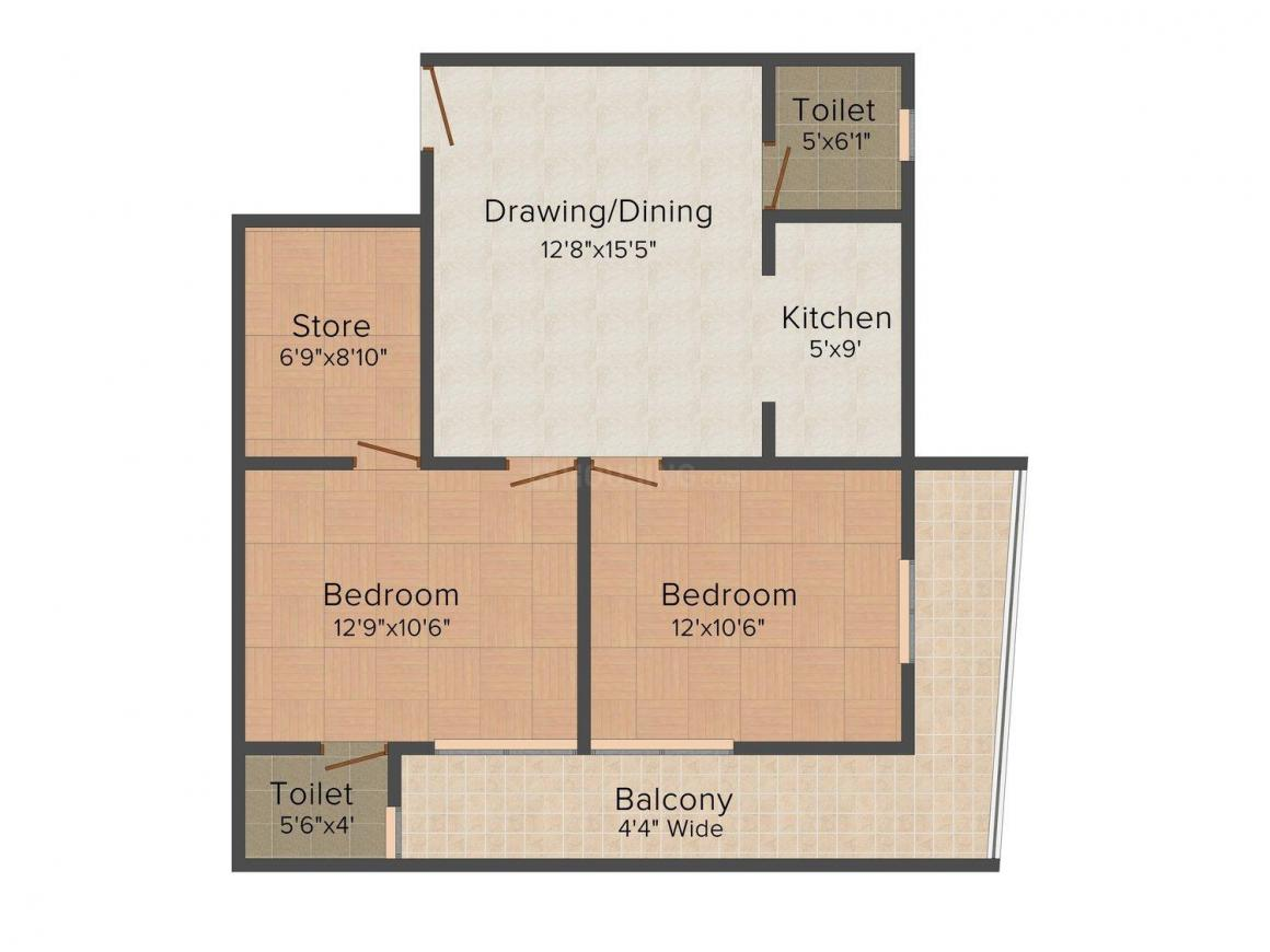 KD Krishna Apartment - 1 Floor Plan: 2 BHK Unit with Built up area of 820 sq.ft 1