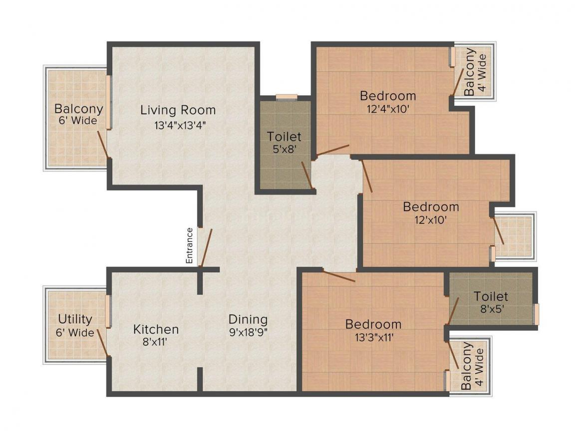 Jindal Pinewood Floor Plan: 3 BHK Unit with Built up area of 1208 sq.ft 1