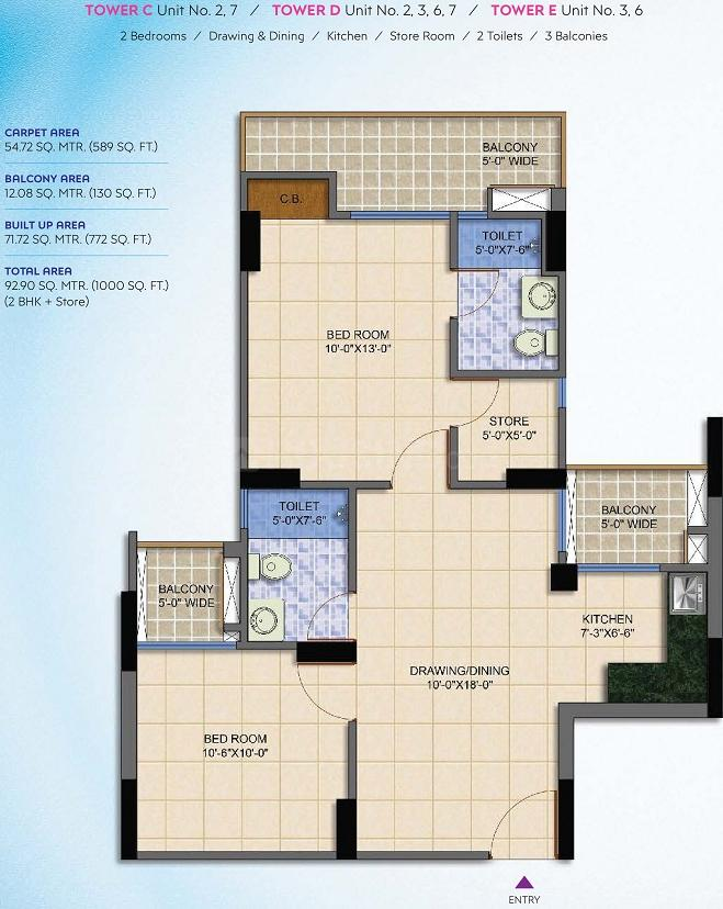 SG Grand Floor Plan: 2 BHK Unit with Built up area of 1000 sq.ft 1
