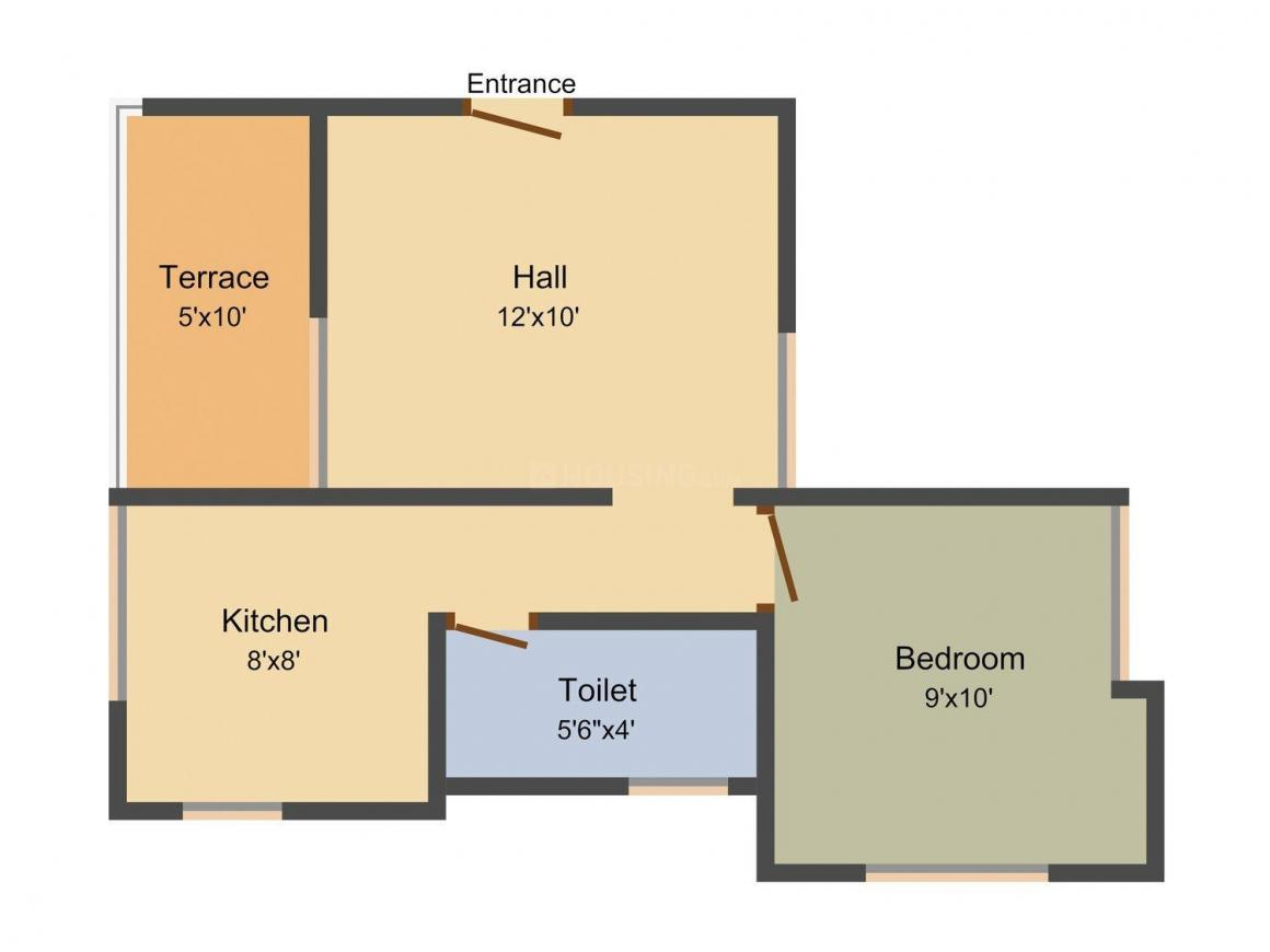 Floor Plan Image of 517.0 - 550.0 Sq.ft 1 BHK Apartment for buy in Sai Chetna Residency