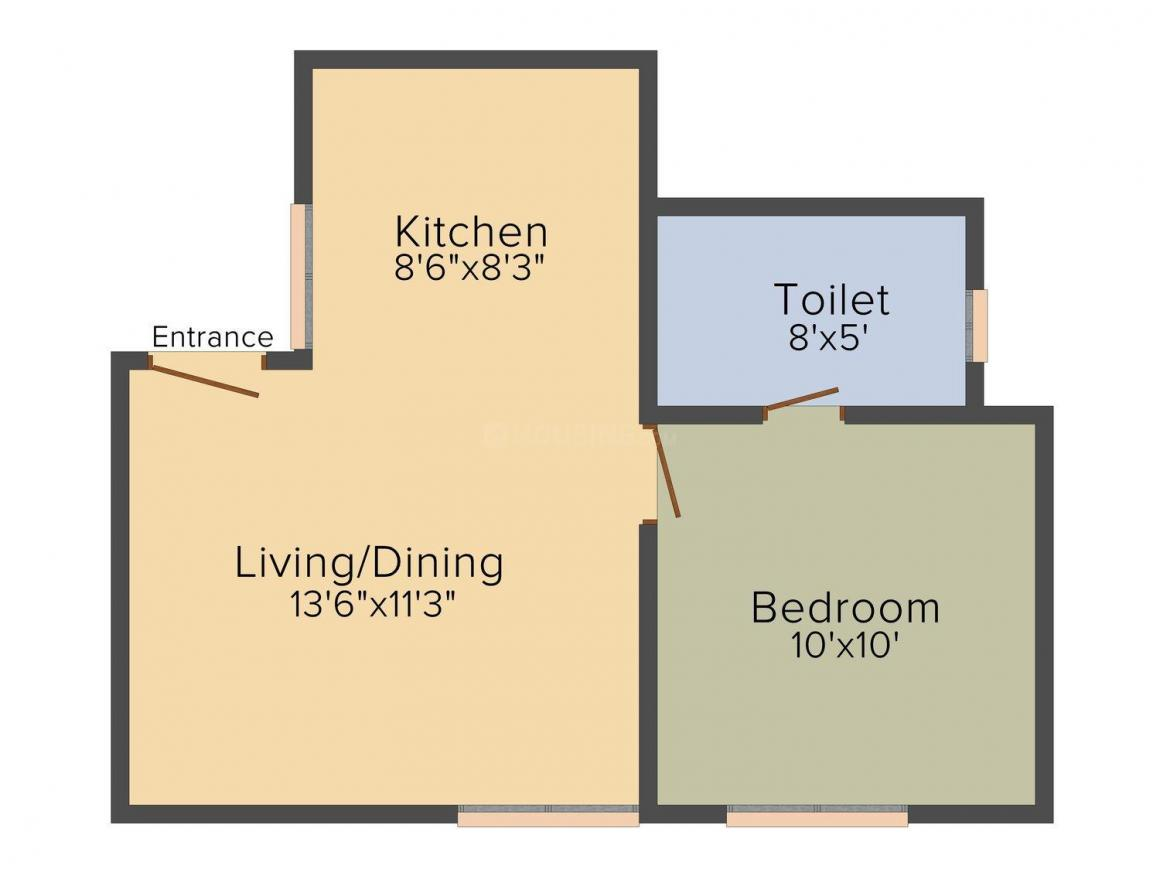 Om Sai Apartment Floor Plan: 1 BHK Unit with Built up area of 650 sq.ft 1