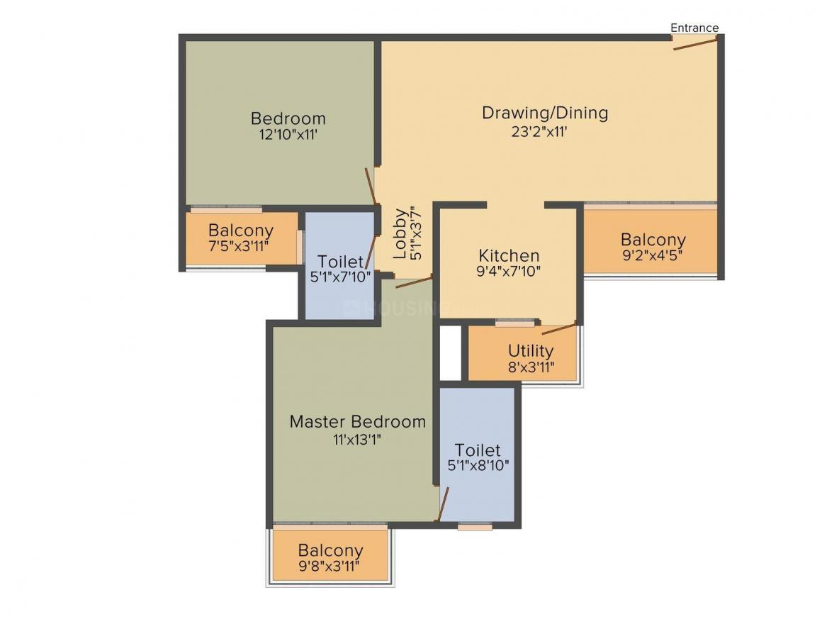 Floor Plan Image of 1248 - 3705 Sq.ft 2 BHK Apartment for buy in Wealth Mantra The florencia
