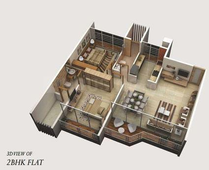 Satyam Imperial Heights Floor Plan: 2 BHK Unit with Built up area of 578 sq.ft 1