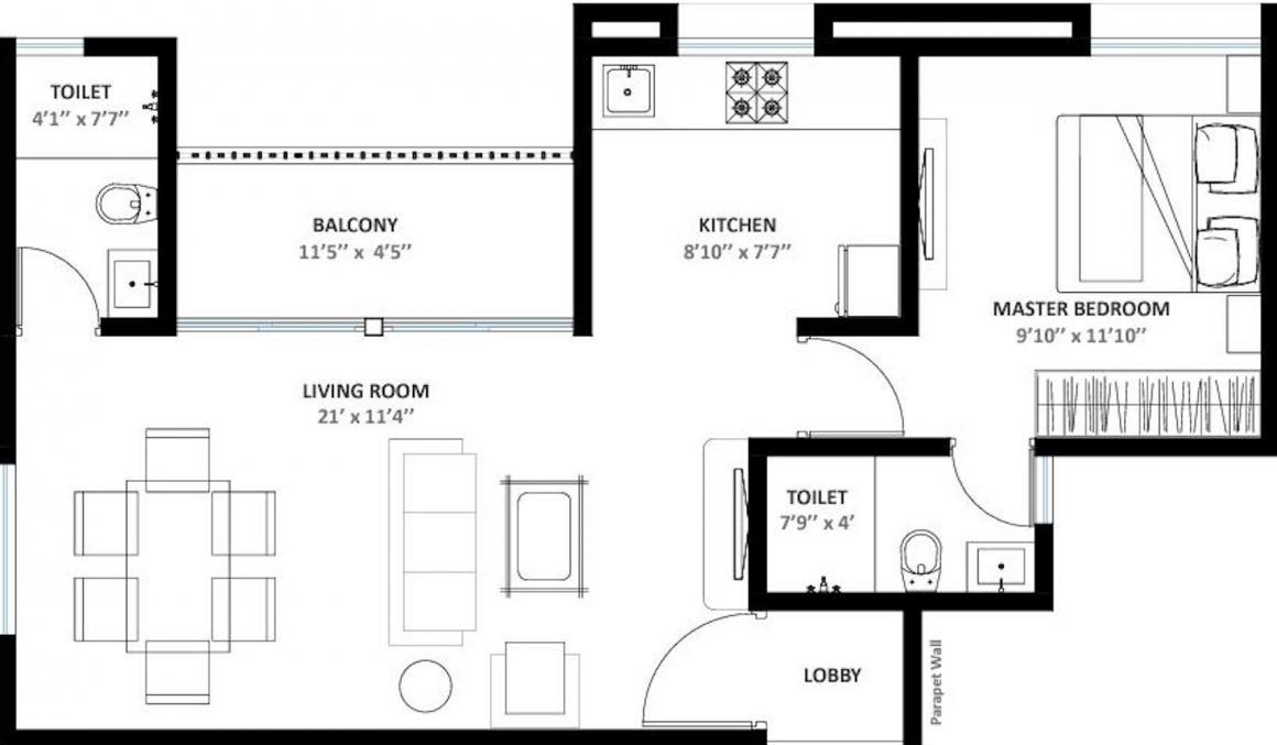 Kishor Vatika Floor Plan: 1 BHK Unit with Built up area of 376 sq.ft 1