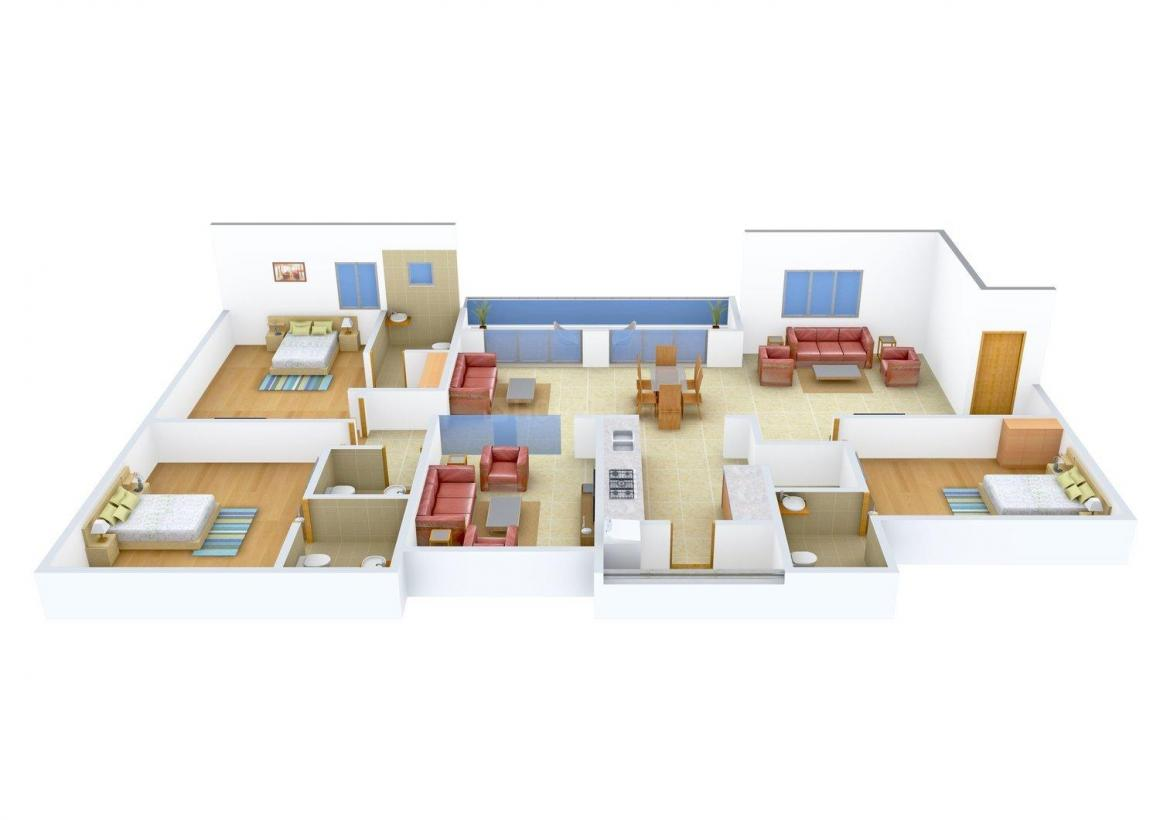Purohit Sopan Heights Floor Plan: 3 BHK Unit with Built up area of 1200 sq.ft 1