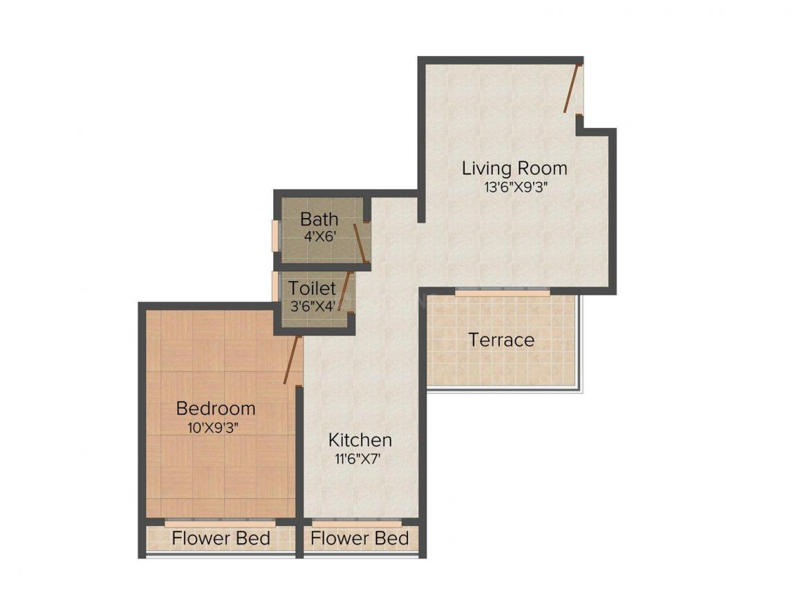 Floor Plan Image of 645.0 - 945.0 Sq.ft 1 BHK Apartment for buy in Siddheshwar Complex