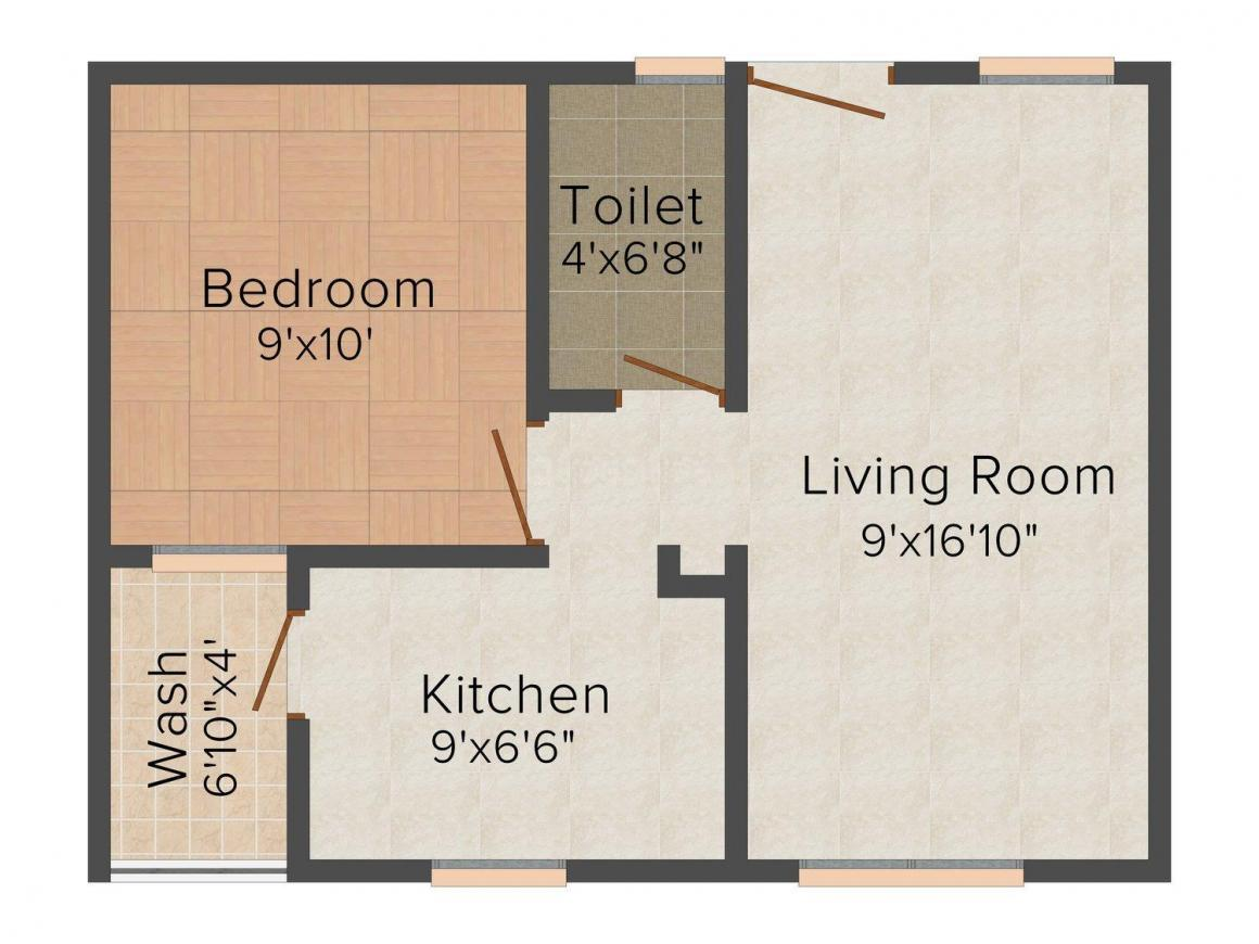 Floor Plan Image of 555 - 915 Sq.ft 1 BHK Apartment for buy in Mayank Devcon Vignesh Heights