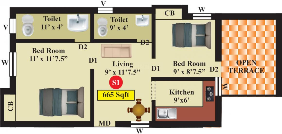 Live Aadhana Floor Plan: 2 BHK Unit with Built up area of 665 sq.ft 1