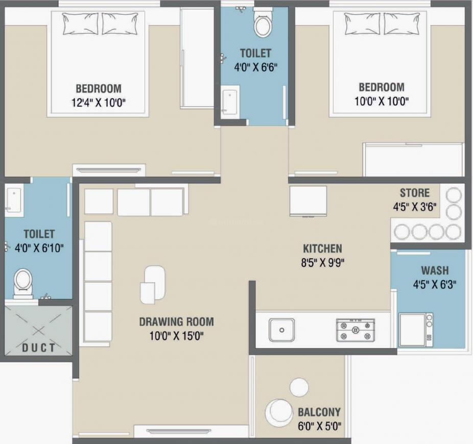 Uma Saral Heights Floor Plan: 2 BHK Unit with Built up area of 565 sq.ft 1