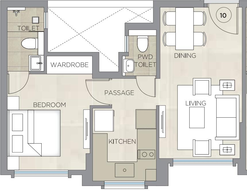 Hiranandani Regent Hill C D And E Wing Floor Plan: 1 BHK Unit with Built up area of 378 sq.ft 1