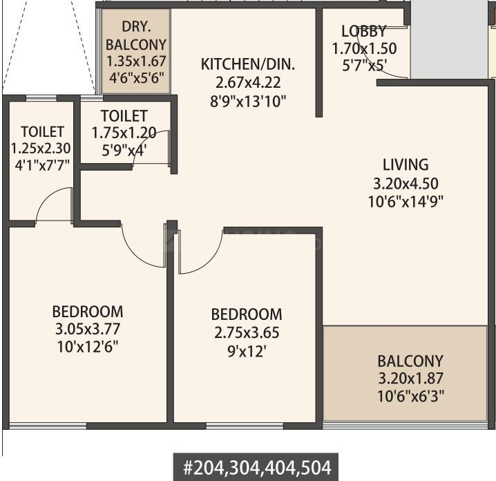 Mantra 29 Gold Coast Floor Plan: 2 BHK Unit with Built up area of 731 sq.ft 1