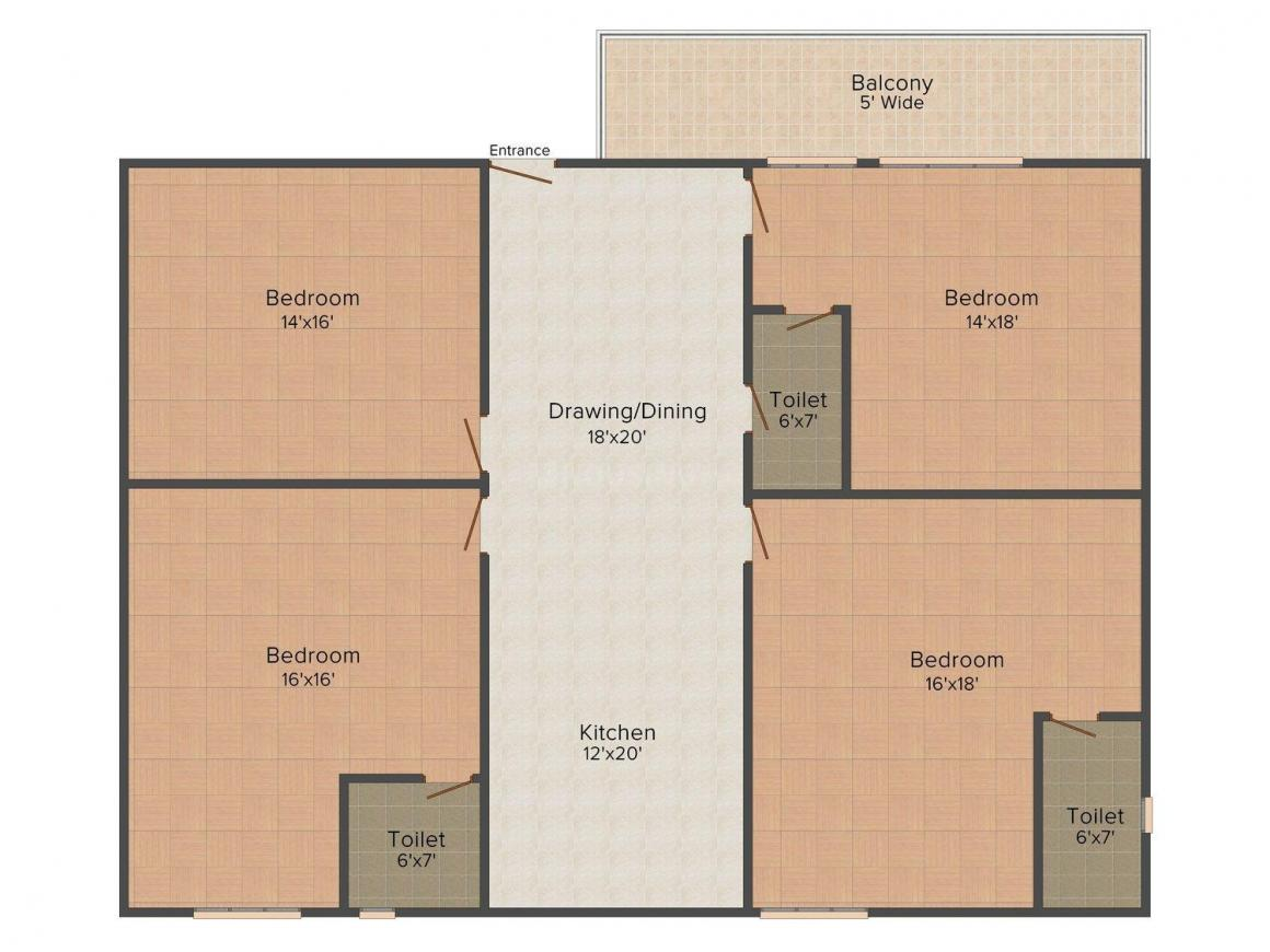 Floor Plan Image of 0 - 2250 Sq.ft 4 BHK Independent Floor for buy in Satyam Apartment - 61