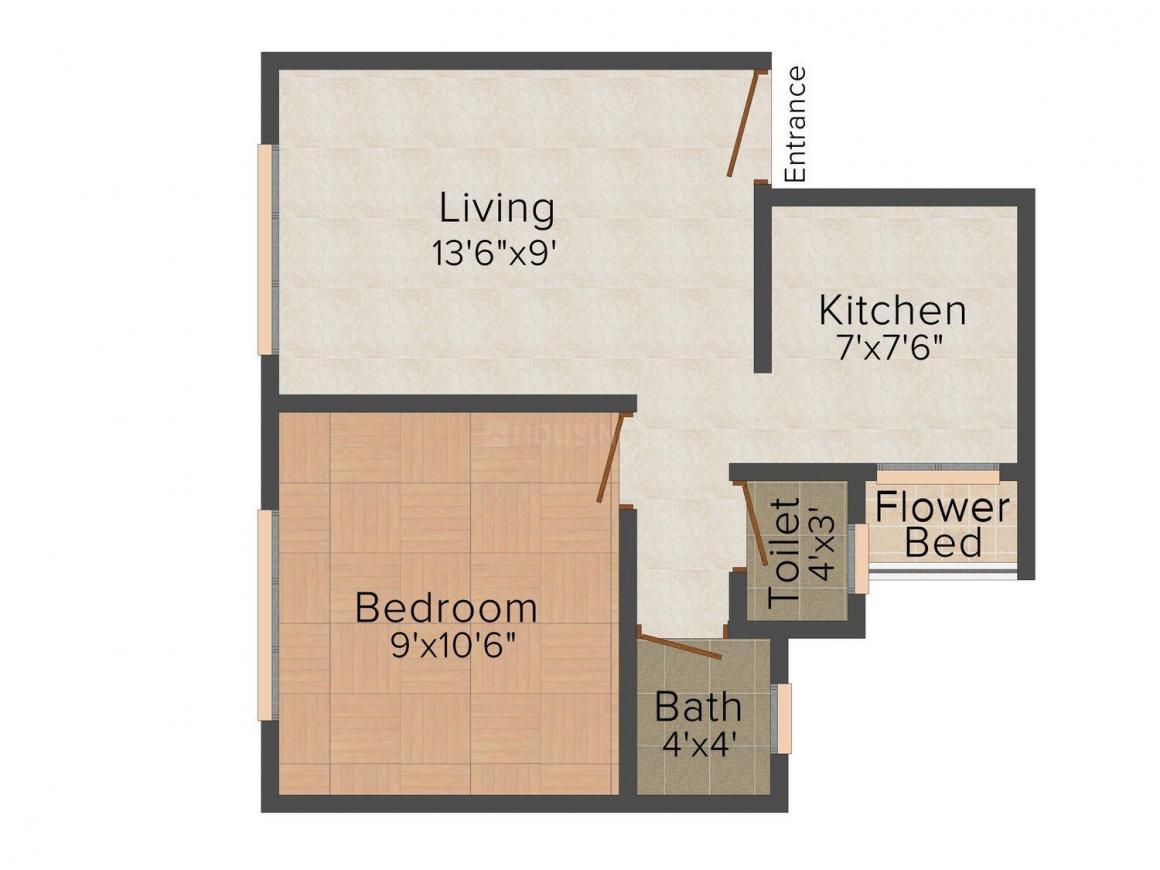 Floor Plan Image of 410.0 - 800.0 Sq.ft 1 BHK Apartment for buy in Shree Aashray