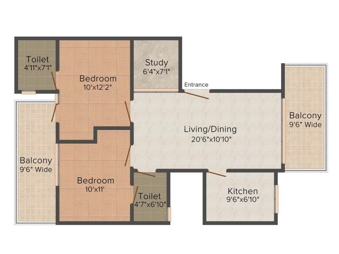 Espace Floors - 8 Floor Plan: 2 BHK Unit with Built up area of 1350 sq.ft 1