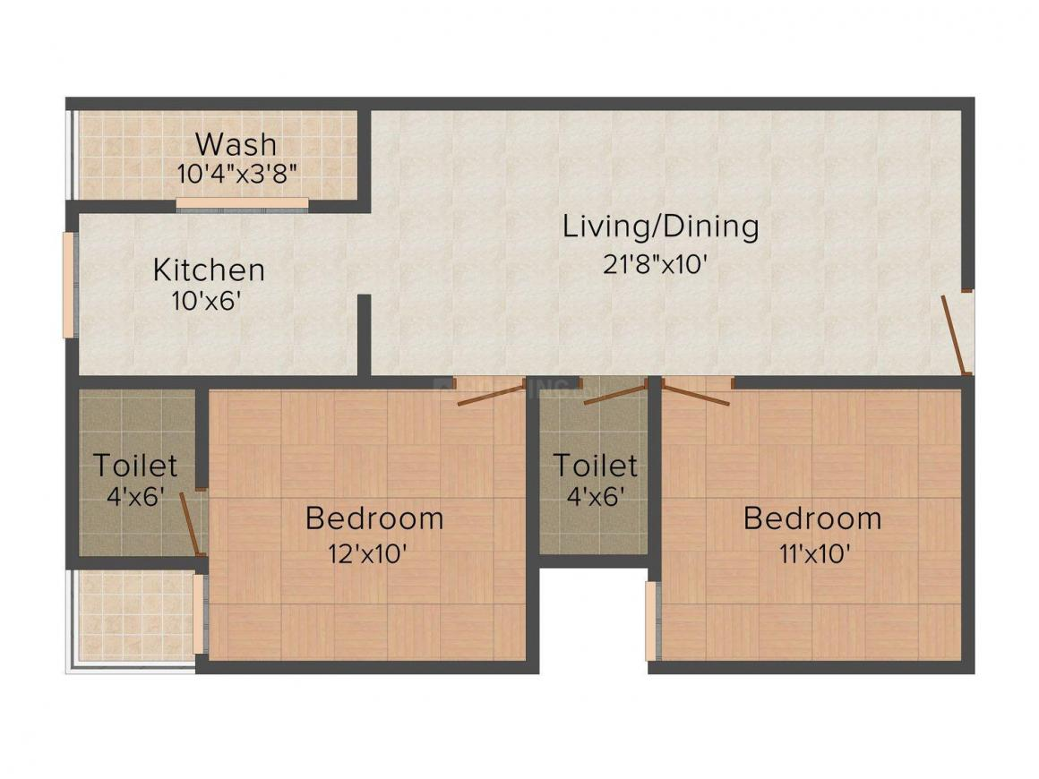 Gateway Cosmos City  Floor Plan: 2 BHK Unit with Built up area of 980 sq.ft 1