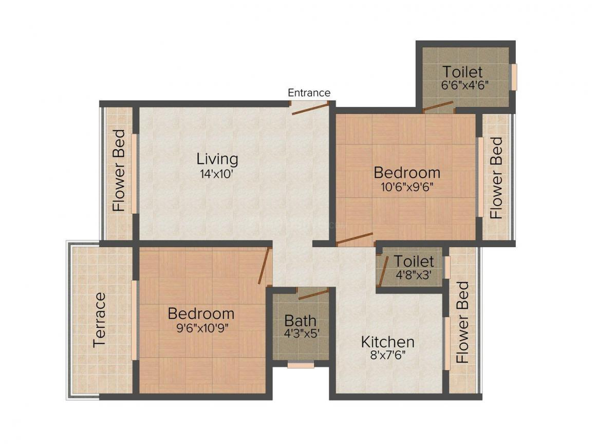 Floor Plan Image of 0 - 1000 Sq.ft 2 BHK Apartment for buy in Bhosale Orchid