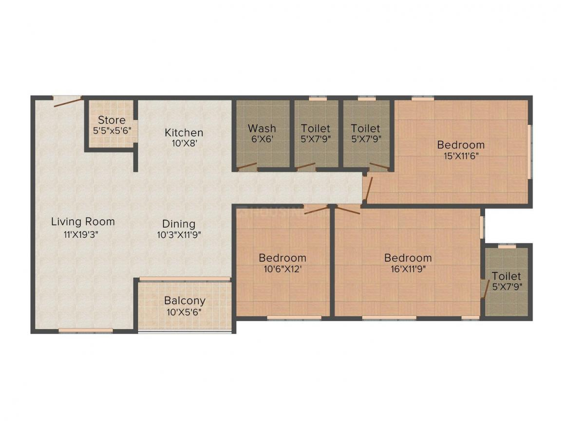 Siddhi Aarohi Crest Floor Plan: 3 BHK Unit with Built up area of 2025 sq.ft 1