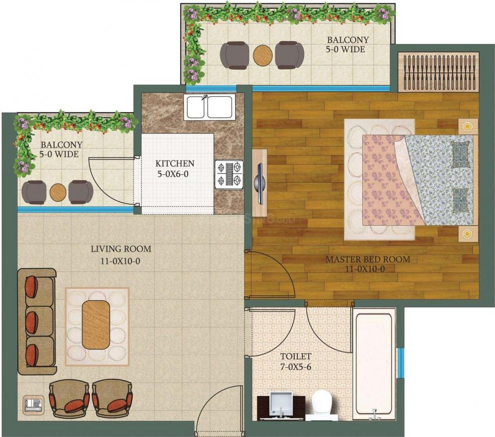 The Antriksh Valley Floor Plan: 1 BHK Unit with Built up area of 575 sq.ft 1