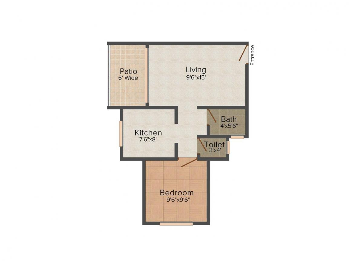 Floor Plan Image of 385 - 411 Sq.ft 1 BHK Apartment for buy in Dream House