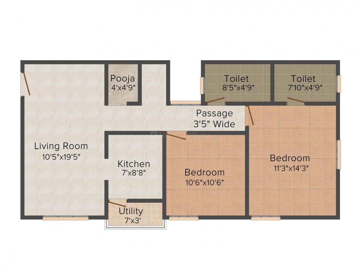 Floor Plan Image of 970 - 1080 Sq.ft 2 BHK Apartment for buy in Trisquare Ram Enclave