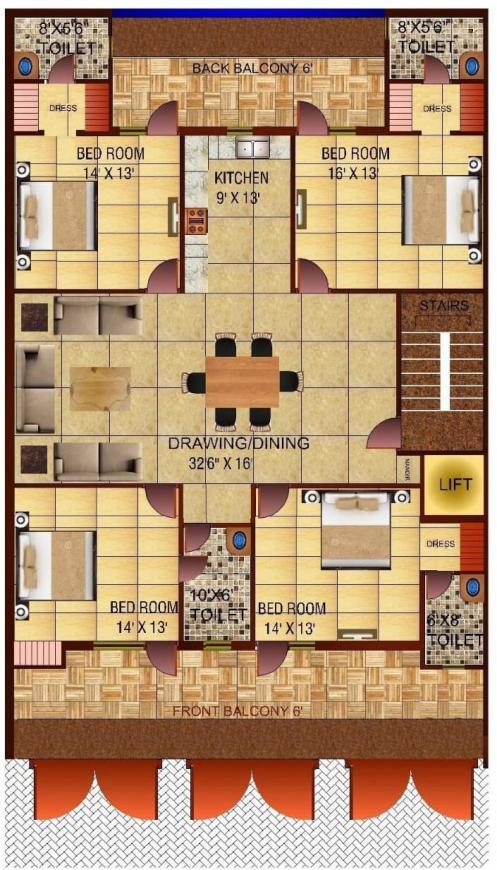 Richlook Luxury Floor Floor Plan: 4 BHK Unit with Built up area of 2800 sq.ft 1