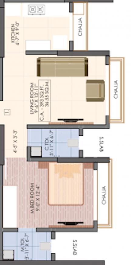 Vaibhavlaxmi Victoria 54 Floor Plan: 1 BHK Unit with Built up area of 393 sq.ft 2