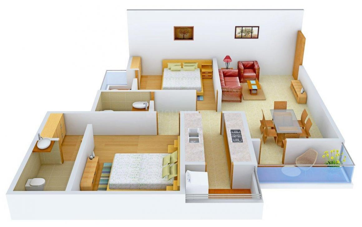 Floor Plan Image of 1275 - 1354 Sq.ft 2 BHK Apartment for buy in Eldeco Maple Heights