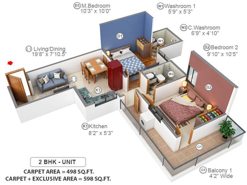 Terra Lavinium Floor Plan: 2 BHK Unit with Built up area of 498 sq.ft 2