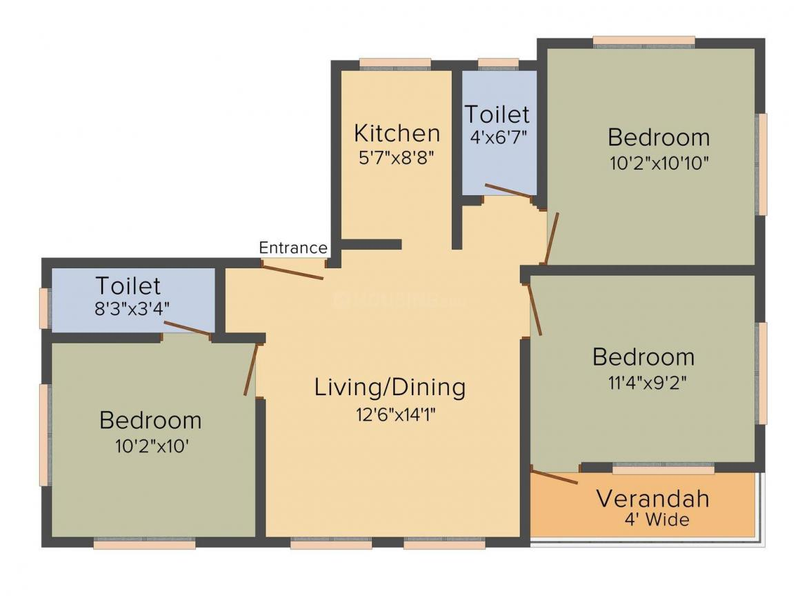 Floor Plan Image of 0 - 1200 Sq.ft 3 BHK Apartment for buy in Jeet Green Phase 3