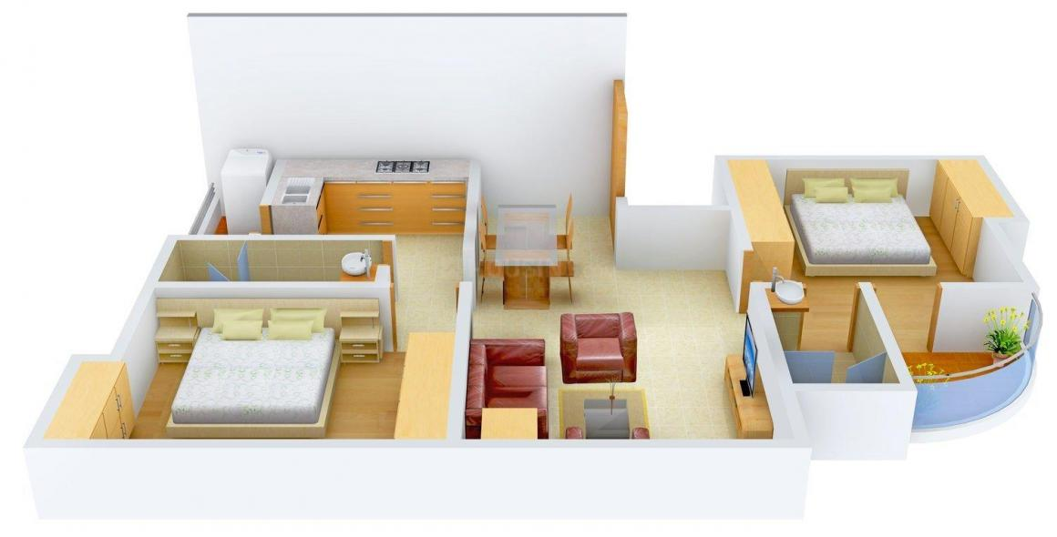 Floor Plan Image of 1097 - 1440 Sq.ft 2 BHK Apartment for buy in Maharshee Shashi-Sharad