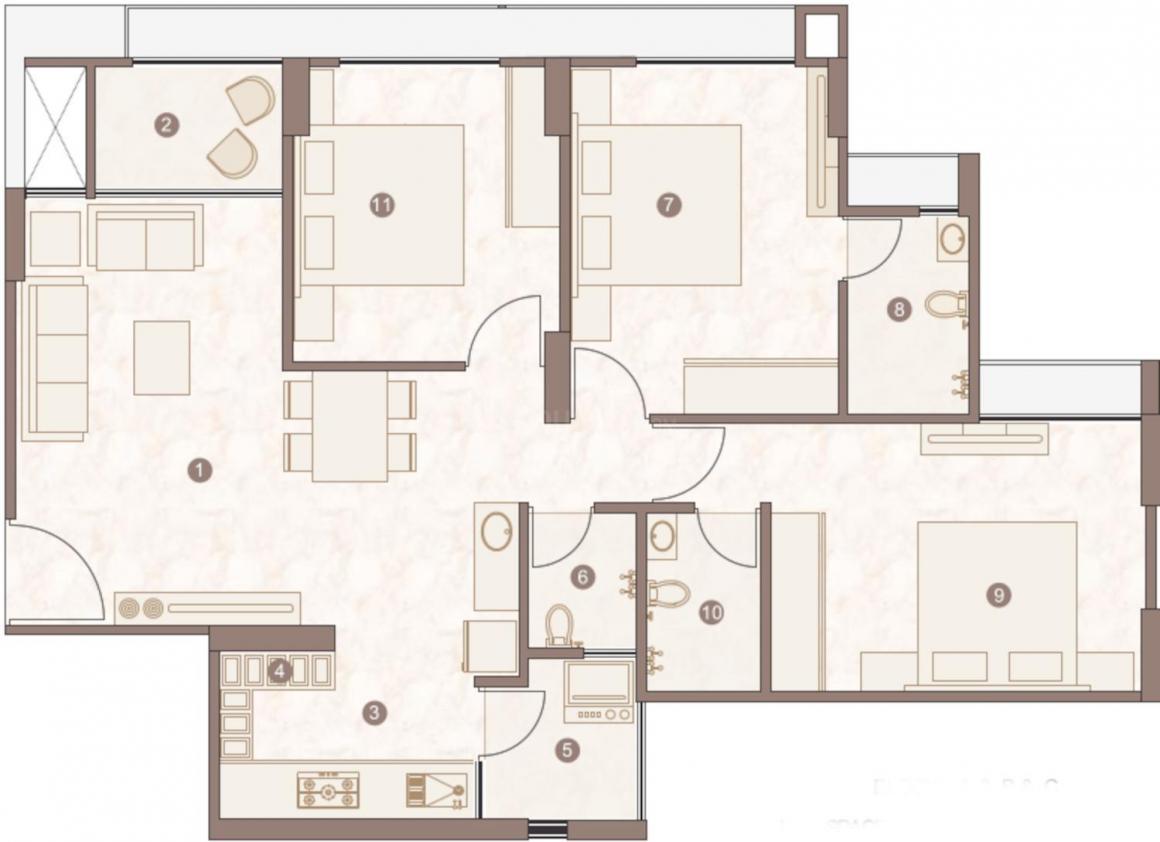 Dwarkesh Vienza Floor Plan: 3 BHK Unit with Built up area of 847 sq.ft 1