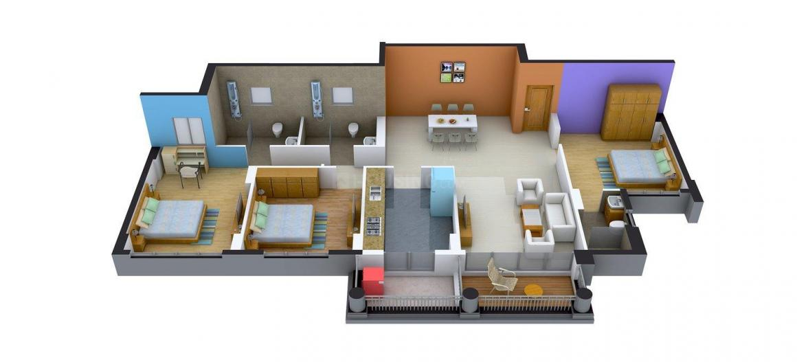 DLF Gardencity Floor Plan: 3 BHK Unit with Built up area of 1871 sq.ft 1